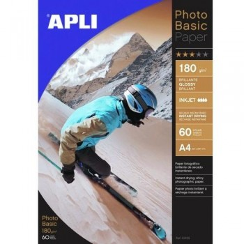 PAPEL FOTO A4 180 GR. 60 HOJAS PHOTOBASIC BRILLANTE PARA INKJET EXTRA BLANCO APLI