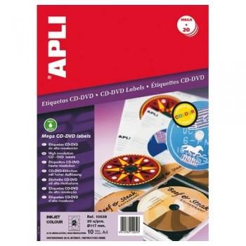 ETIQUETA CD-DVD 117/18 MM. BLANCO 10 HOJAS A4 20 UNIDADES ADHESIVO PERMANENTE APLI
