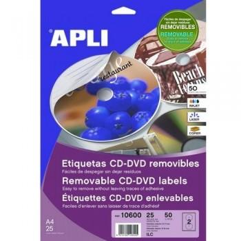 ETIQUETA CD-DVD 117/18 MM. BLANCO 25 HOJAS A4 50 UNIDADES ADHESIVO PERMANENTE APLI