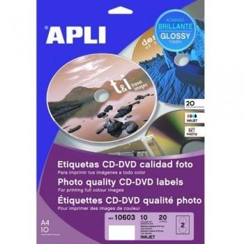 ETIQUETA CD-DVD 117/18 MM. GLOSSY 10 HOJAS A4 20 UNIDADES ADHESIVO PERMANENTE APLI PARA INKJET