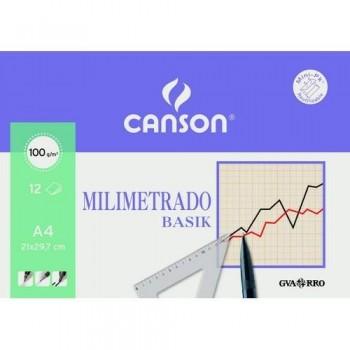 PAPEL MILIMETRADO A4 100 GRAMOS 12 HOJAS MINIPAC CANSON
