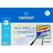 PAPEL ACUARELA A3 (PACK 6 H) 370grs. CANSON R.C200402393