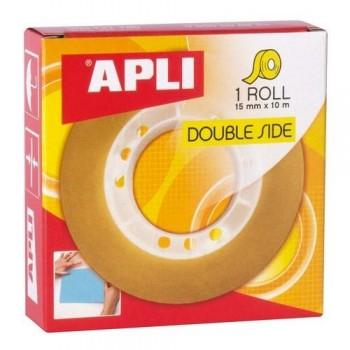 Cinta adhesiva Doble cara transparente en rollo 15 mm. x 10 m. Apli