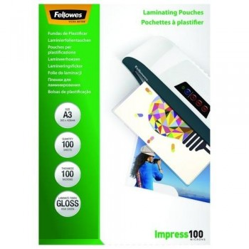 FUNDA PLASTIFICAR A3 100 MICRAS BRILLO 100 FELLOWES
