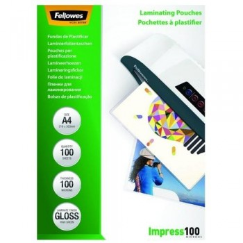 FUNDA PLASTIFICAR A4 100 MICRAS BRILLO 100 FELLOWES