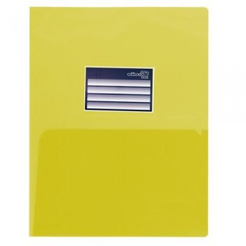 DOSSIER A4 PP 250 MICRAS DOBLE CON TARJETERO AMARILLO OFFICE BOX