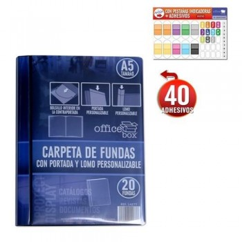 CARPETA 20 FUNDAS A5 170X225MM. PP PERSONALIZABLES NEGRO.
