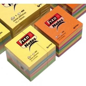 Notas adhesivas de colores en cubo 400h 51x51mm neón Fixo