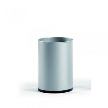 Papelera metálica 12 l. 31,5x21,5 cm. Plata.