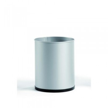 Papelera metálica 16 l. 31,5x25,5 cm. Plata.