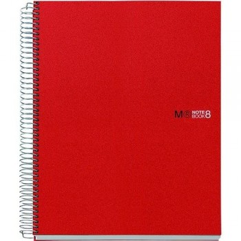 CUADERNO ESPIRAL A5 200 HOJAS 70GR. CUADRÍCULA 5X5 MICROPERFORADAS TAPA PP ROJO 8 BANDAS COLOR NOTEBOOK 8 MR