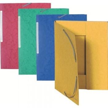 Carpeta gomas A4 3 solapas cartón colores surtidos Maxi Capacity Exacompta
