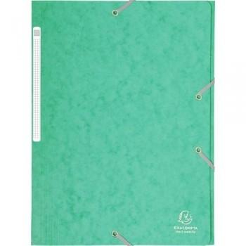 Carpeta gomas A4 3 solapas cartón verde Maxi Capacity Exacompta