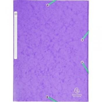 Carpeta gomas A4 3 solapas cartón violeta Maxi Capacity Exacompta