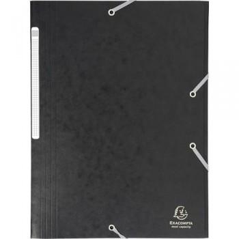 Carpeta gomas A4 3 solapas cartón negro Maxi Capacity Exacompta