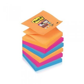 NOTAS ADHESIVAS Z-NOTAS SUPER STICKY 76X76 MM. PACK DE 6 BLOCS COLORES BANGKOK POST-IT