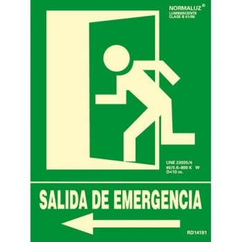 SEÑAL PVC NORMALIZADA SALIDA DE EMERGENCIA IZQUIERDA FOTOLUMINISCENTE 224X300MM ARCHIVO 2000