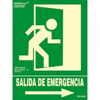 SEÑAL PVC NORMALIZADA SALIDA DE EMERGENCIA DERECHA FOTOLUMINISCENTE 224X300MM ARCHIVO 2000