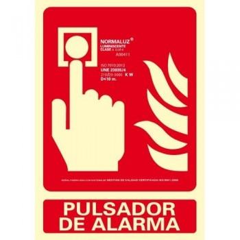 SEÑAL PVC NORMALIZADA PULSADOR DE ALARMA FOTOLUMINISCENTE 210X300MM ARCHIVO 2000