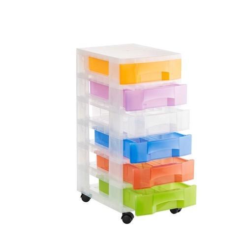 Torre de almacenaje 6 cajones con ruedas surtido translúcido 390x290x685