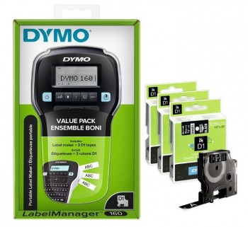 PACK ROTULADORA DYMO LABELMANAGER 160 + 3 CINTAS D1 12mm. BCO/NEGRO (45021/S0720610) R.2142267